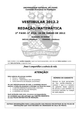 VESTIBULAR 2012.2 REDAÇÃO/MATEMÁTICA