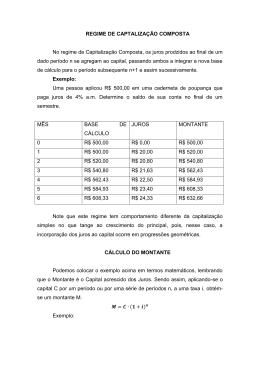 REGIME DE CAPTALIZAÇÃO COMPOSTA No regime de