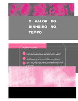 O VALOR DO DINHEIRO NO TEMPO