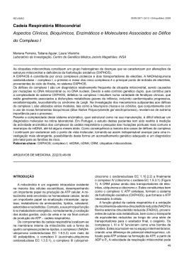 Cadeia Respiratória Mitocondrial Aspectos Clínicos