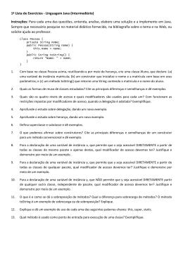 1ª Lista de Exercícios - Linguagem Java (Intermediário
