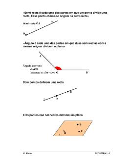 «Semi-recta é cada uma das partes em que um ponto divide uma