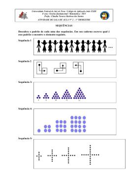 SEQUÊNCIAS Descubra o padrão de cada uma das sequências