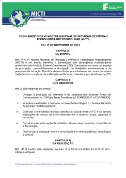 REGULAMENTO DA VII MOSTRA NACIONAL DE