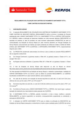Regulamento Campanha Santander Totta Repsol