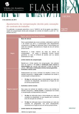 Ajustamento da compensação devida pela cessação do
