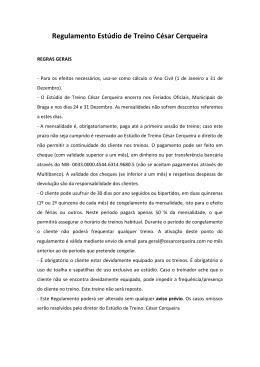 Regulamento Estúdio de Treino César Cerqueira