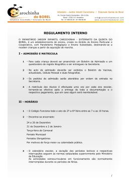 Regulamento Interno - infantário carochinha