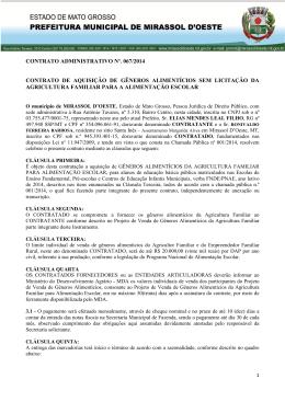 contrato 067/2014 - Prefeitura Municipal de mirassol d`oeste