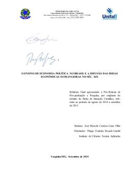 as cátedras de economia política - Unifal-MG
