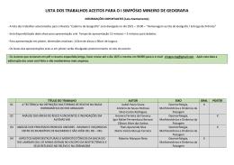 LISTA DOS TRABALHOS ACEITOS PARA O I - Unifal-MG
