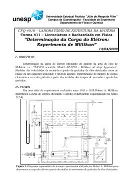 Determinação da Carga do Elétron: Experimento de Millikan