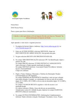 Pessoa física - Associação Projeto Providência
