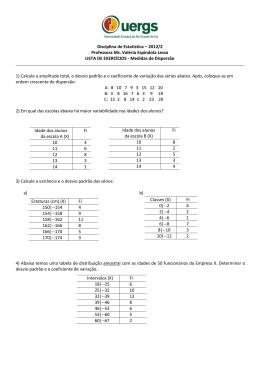 Disciplina de Estatística – 2012/2 Professora Ms. Valéria