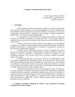 O complexo econômico-industrial da Saúde Carlos Augusto