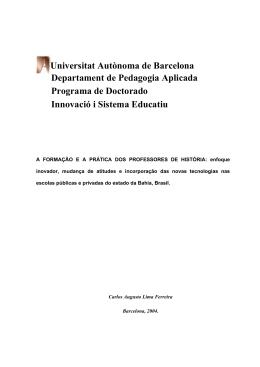 A FORMAÇAP E A PRATICA DOS PROFESSORES