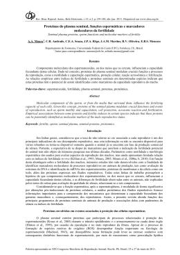 Proteínas do plasma seminal, funções espermáticas e marcadores