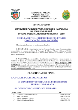 CLASSIFICAÇÃO FINAL 1. OFICIAL POLICIAL MILITAR - NC
