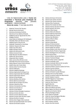 Lista de Selecionados para o Curso em Conceitos e