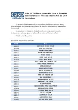 Lista de candidatos convocados para a Entrevista Socioeconômica