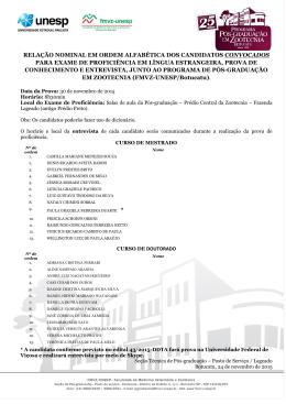 relação nominal em ordem alfabética dos candidatos convocados