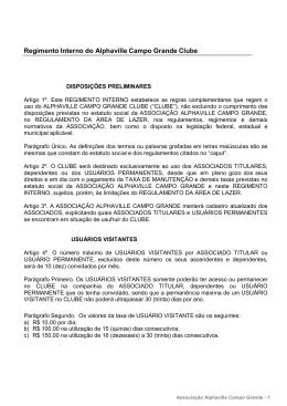 Regimento Interno do Alphaville Campo Grande Clube