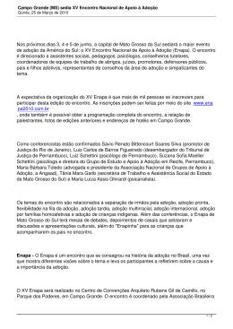 Campo Grande (MS) sedia XV Encontro Nacional de Apoio à Adoção