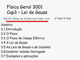 Física Geral 3001 Cap2 – Campo Elétrico 3ª Aula