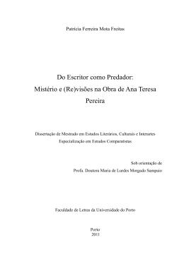 Mistério e (Re)visões na Obra de Ana Teresa Pereira