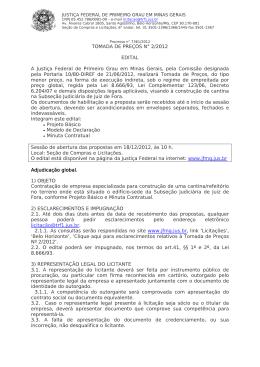 TOMADA DE PREÇOS N° 2/2012 EDITAL A Justiça Federal de
