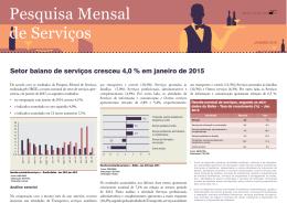 Pesquisa Mensal de Serviços - Superintendência de Estudos