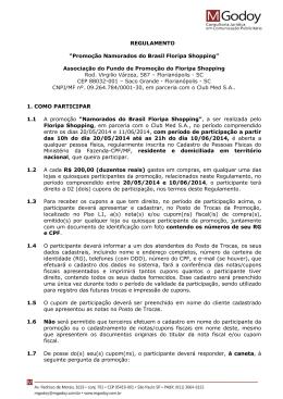 """REGULAMENTO """"Promoção Namorados do Brasil Floripa Shopping"""