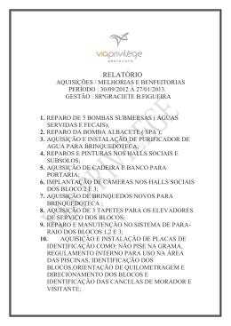 AQUISIÇÃO/MELHORIAS E BENFEITORIAS (30.9.2012 a 27.01.2013)