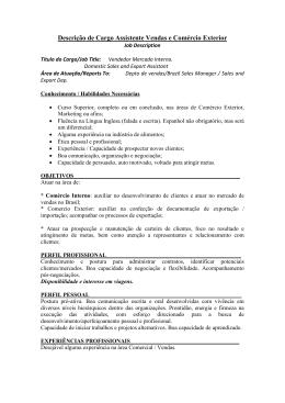 Descrição de Cargo Assistente Vendas e Comércio Exterior