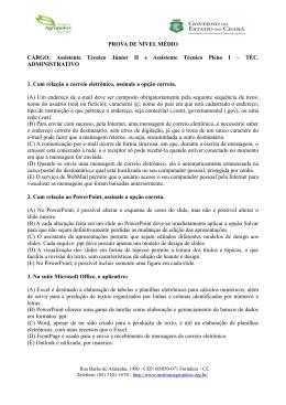 PROVA DE NÍVEL MÉDIO CARGO: Assistente Técnico Júnior II e