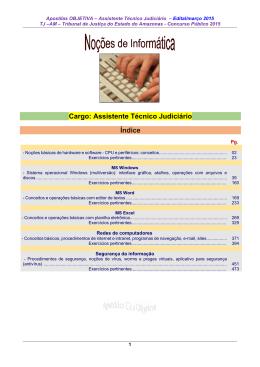 Cargo: Assistente Técnico Judiciário Índice