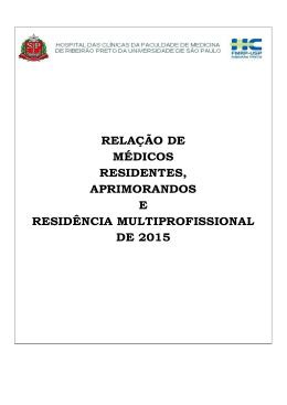 relação de médicos residentes, aprimorandos e residência