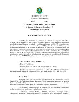 MINISTÉRIO DA DEFESA EXÉRCITO BRASILEIRO CMSE