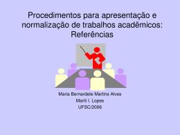 Procedimentos para apresentação e normalização de trabalhos