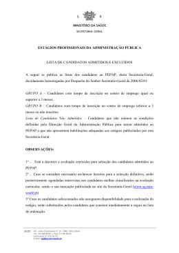 ESTÁGIOS PROFISSIONAIS DA ADMINISTRAÇÃO PÚBLICA LISTA
