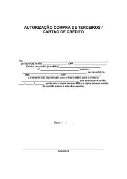 AUTORIZAÇÃO COMPRA DE TERCEIROS / CARTÃO DE CRÉDITO