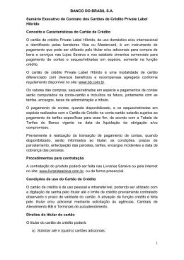 BANCO DO BRASIL S.A. Sumário Executivo do Contrato