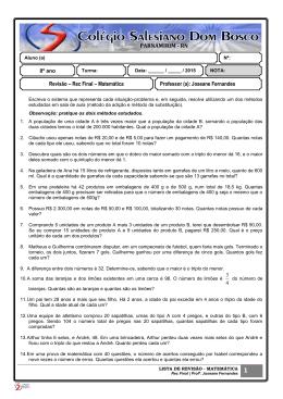 Matemática - Revisão REC Final - Profª Joseane