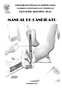 Manual do candidato - Processo Seletivo Vest2016