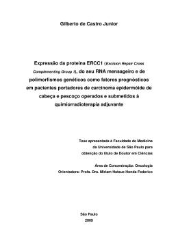 Gilberto de Castro Junior Expressão da proteína ERCC1