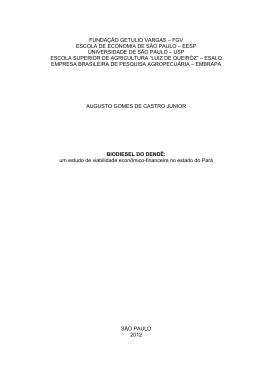 BIODIESEL DO DENDÊ - Sistema de Bibliotecas FGV