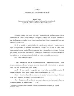 LENDAS: PROCESSO DE FOLKCOMUNICAÇÃO