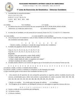 1ª Lista de Exercícios de Estatística – Ciências Contábeis
