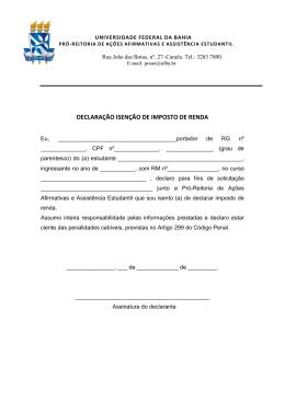 Declaração de isenção de imposto de renda