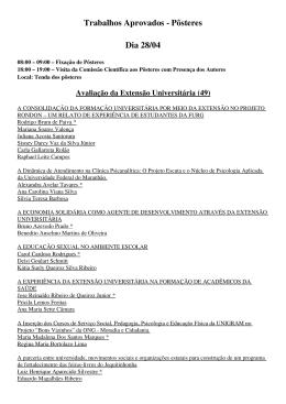 Apresentações Posteres - CBEU`2009